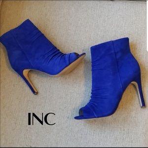 INC Blue suede peep toe booties